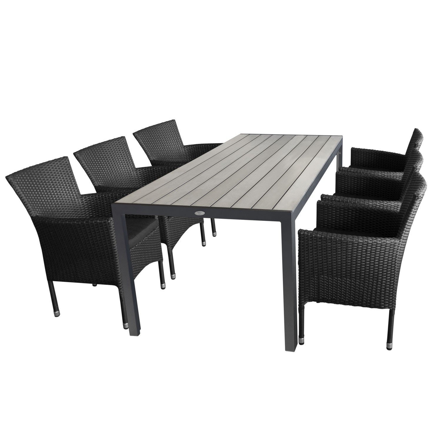 7tlg gartengarnitur aluminium gartentisch tischplatte polywood grau 205x90cm 6x. Black Bedroom Furniture Sets. Home Design Ideas