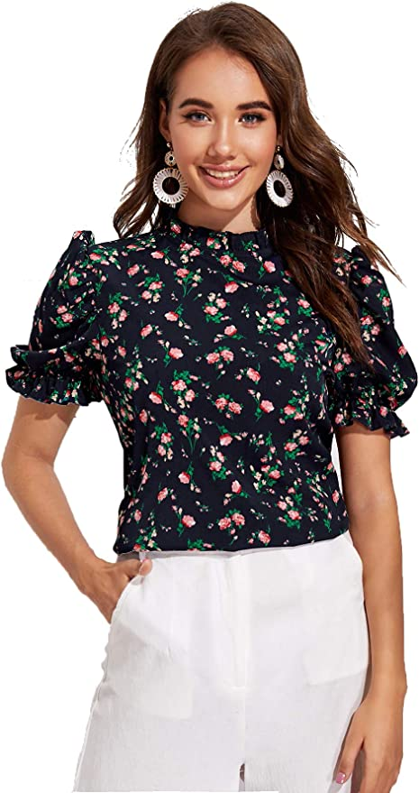 Romwe Women's Floral Print Casual Blouse