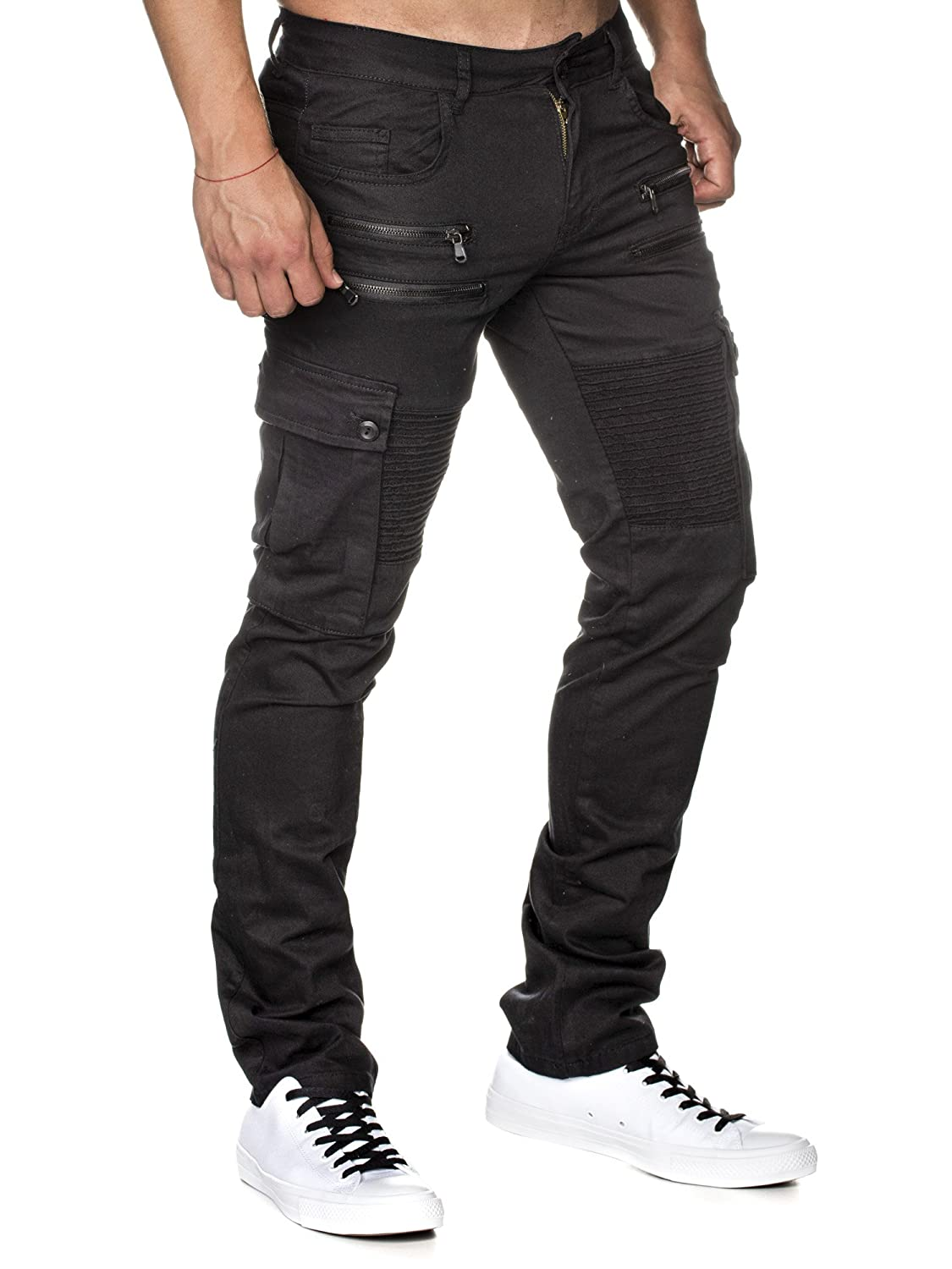 55a59c3aca63 Tazzio Slim Fit Biker Style Herren Stretch Chino Hose Denim 16507 Schwarz  33 32  Amazon.de  Bekleidung