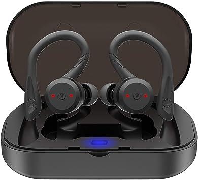 Noziroh Beats - Auriculares inalámbricos Bluetooth 5.0 con auriculares inalámbricos deportivos estéreo TWS para iPhone Samsung Huawei Xiaomi con funda base de carga negra: Amazon.es: Electrónica