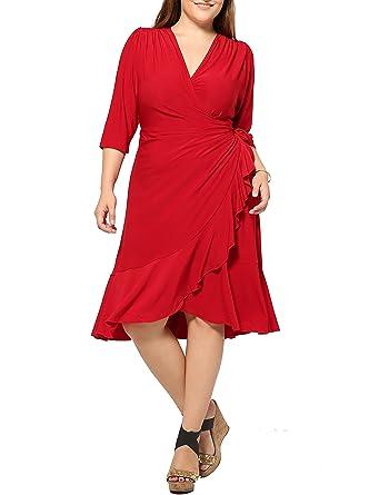 Damen Plus Size Sexy Wickelkleid Tiefer V-Ausschnitt Partykleid ...