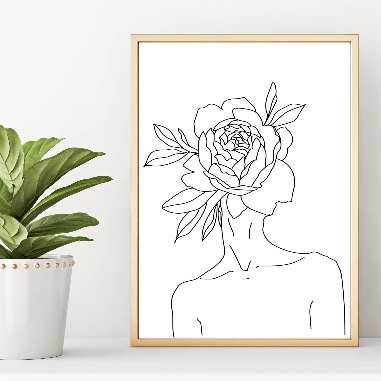 show original title Details about  /Image on canvas-flower paintings woman colorful 30 shapes fr 3140