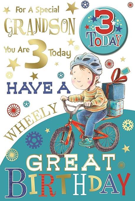 "GRANDSON 3rd BIRTHDAY CARD /& BADGE ~ AGE 3 TODAY DESIGN ~ NICE CARD 9/"" x 6/"""