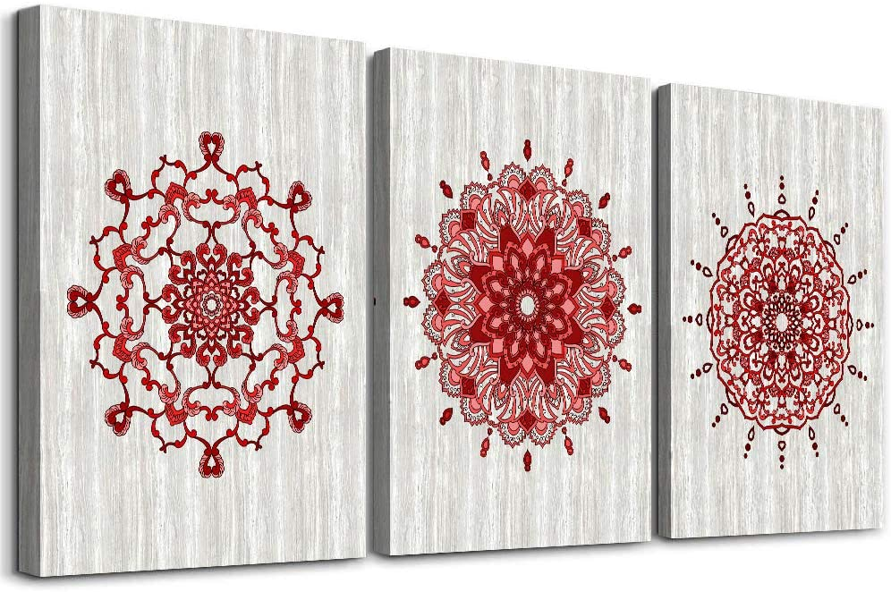 large Abstract Canvas Wall Art for living room Wood grain red flowers pattern Wall Decor for bedroom kitchen artwork Canvas Prints Modern office bathroom decorations family pictures 16