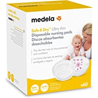 Medela Safe and Dry Ultra Thin Disposable Nursing Pads 60-Pack, White, 60 Count