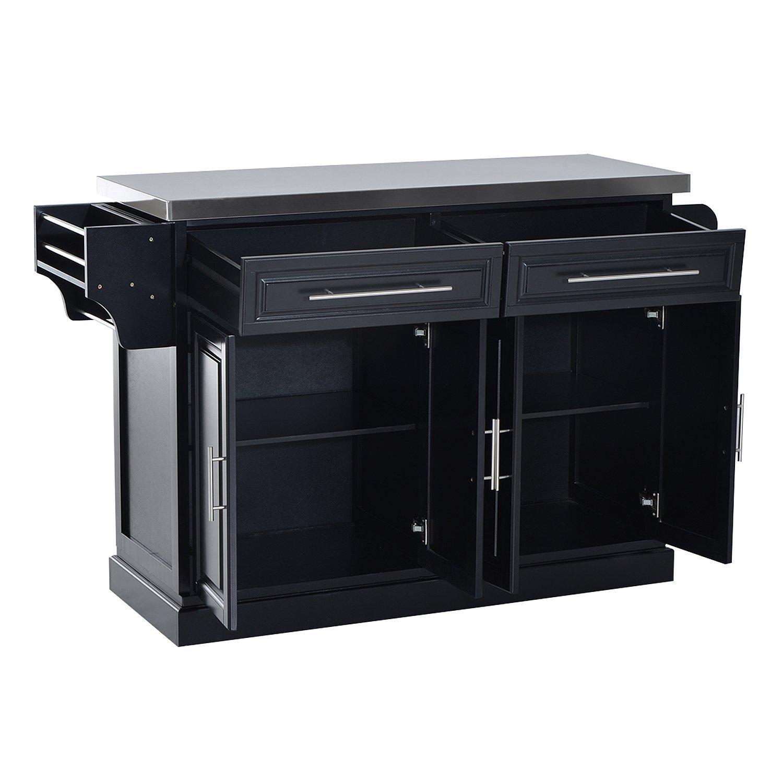 HomCom Modern Rolling Kitchen Island Storage Cart w/Stainless Steel Top - Black by HOMCOM (Image #5)