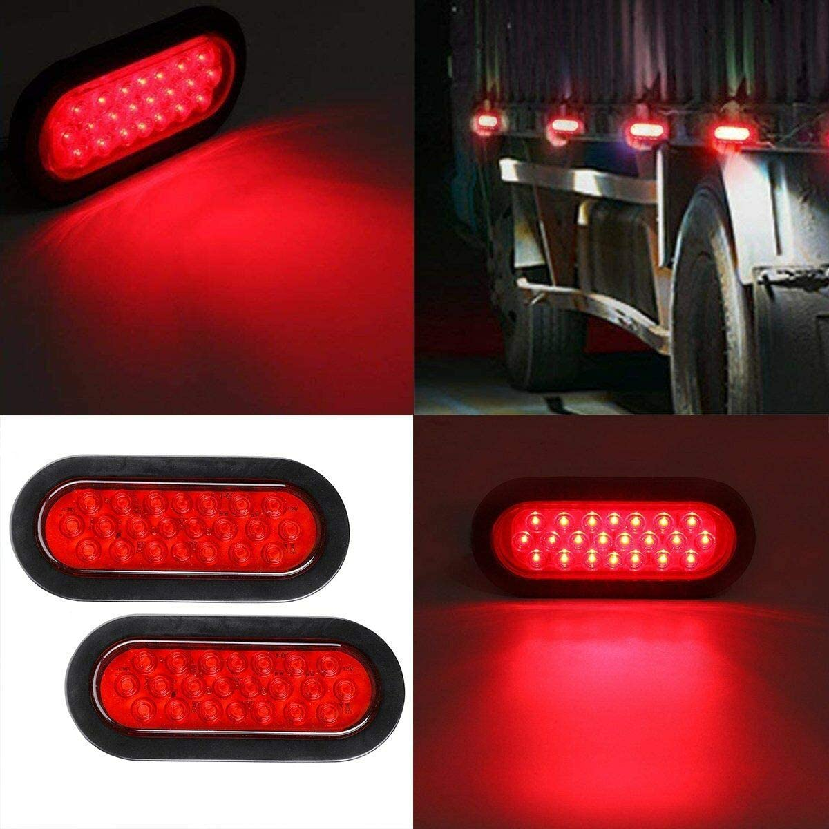 Yudanny 1 Paire Stop Stop Feu Arri/ère 12 V 22Led Ovale LED Feux de Remorque Stop Clignotant Frein Marqueur Feu Arri/ère pour Camion Remorque Trail Bus