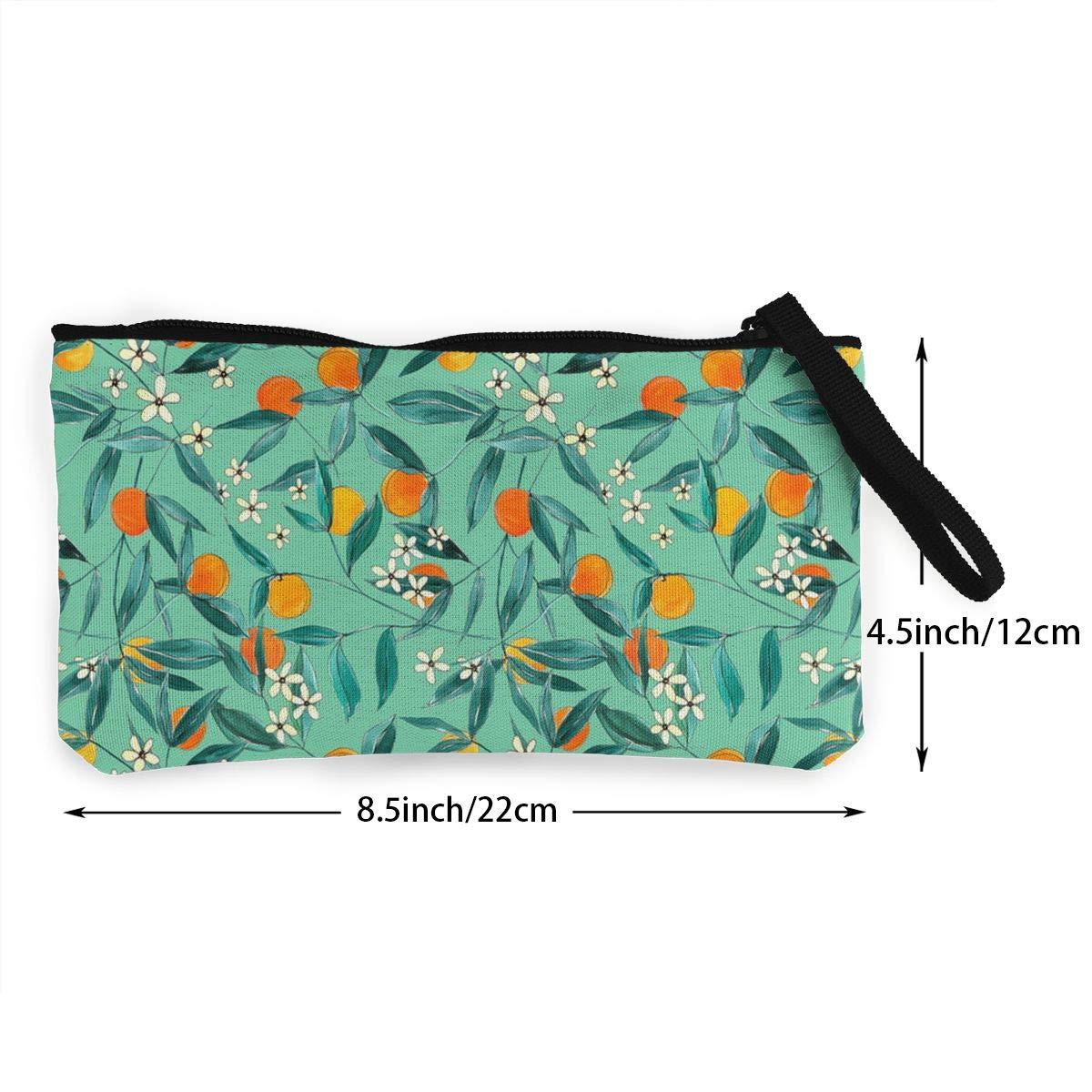 Orange Summer Pattern Canvas Coin Purse Retro Change Cash Bag With Zip