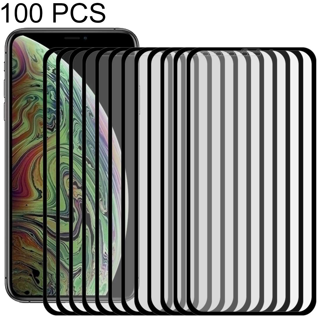 YCDZ STORE Glass Film 100 PCS 9H 10D Full Screen Tempered Glass Screen Protector for iPhone Xs Max(Black)