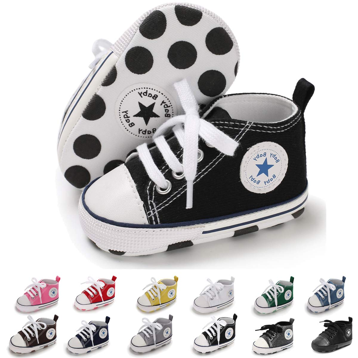 e78f05a9efe13 Sakuracan Baby Shoes Boys Girls Toddler High-Top Ankle Canvas Sneakers Soft  Sole Newborn Infant First Walkers Crib Shoes