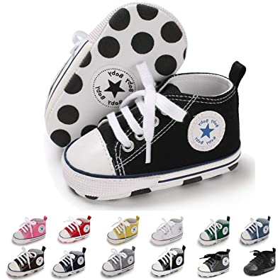c8898a9e2e00e Sakuracan Baby Shoes Boys Girls Toddler High-Top Ankle Canvas Sneakers Soft  Sole Newborn Infant First Walkers Crib Shoes