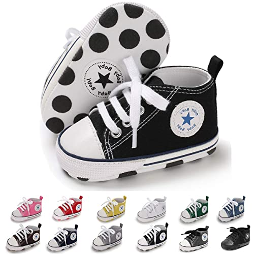 31e258a1ca Sakuracan Baby Shoes Boys Girls Toddler High-Top Ankle Canvas Sneakers Soft  Sole Newborn Infant First Walkers Crib Shoes