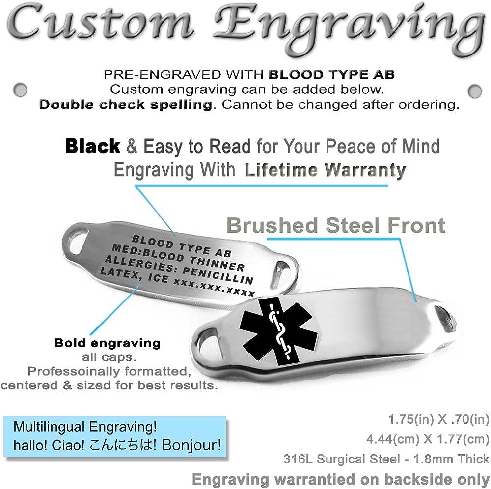 Steel Raindrop Black Symbol My Identity Doctor Pre-Engraved /& Customized Pacemaker ID Bracelet