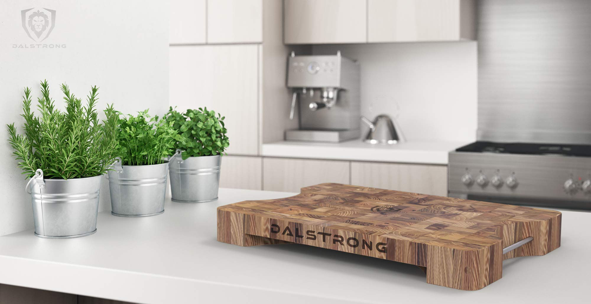 DALSTRONG Lionswood End-Grain Teak Cutting Board - Large - w/Steel Carrying Handles by Dalstrong (Image #6)
