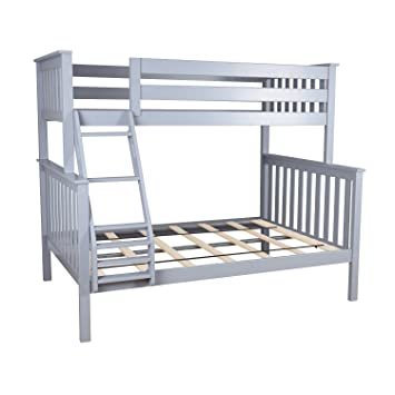 Amazon Com Max Lily Solid Wood Twin Over Full Bunk Bed Grey