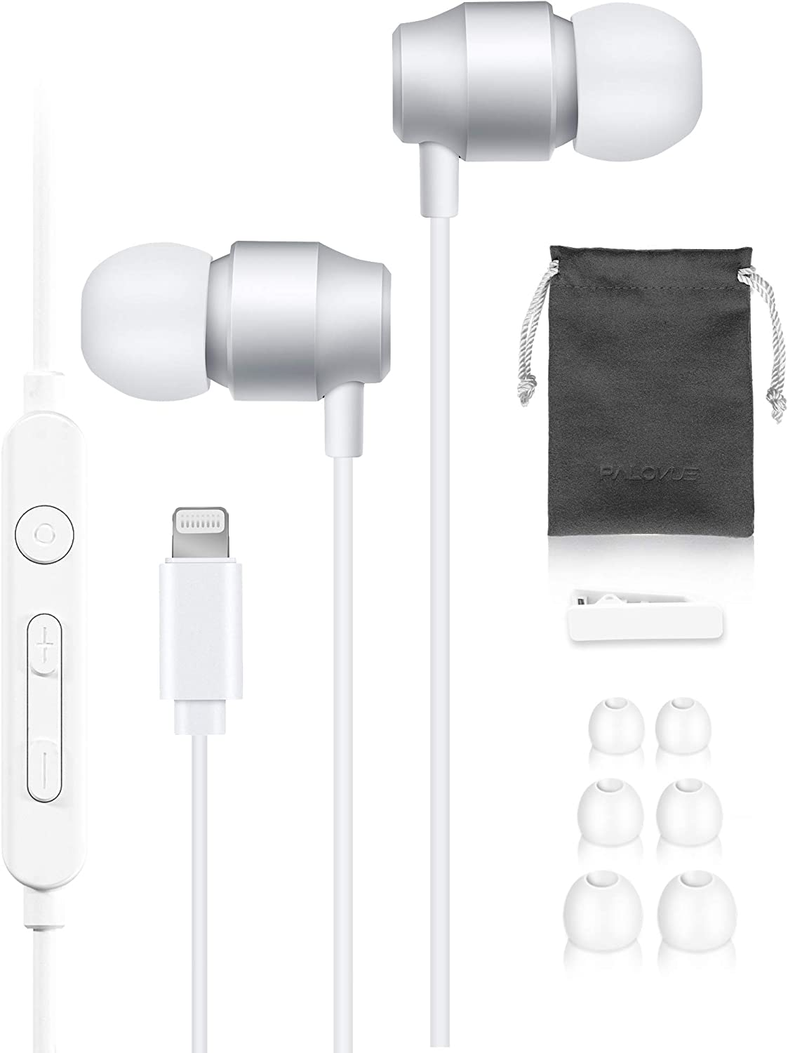 PALOVUE Black Lightning Headphones MFi Certified Earphones Earbuds Compatible iPhone 12 11 Pro Max iPhone X XS Max XR 7 8 Plus with Mic Controller (Earflow White)