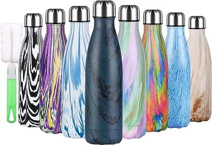 flintronic Botella Termica, 500ML Botella de Agua de Acero Inoxidable, Aislamiento de Vacío de Doble Pared, Botellas de Frío/Caliente Sin BPA & Eco ...