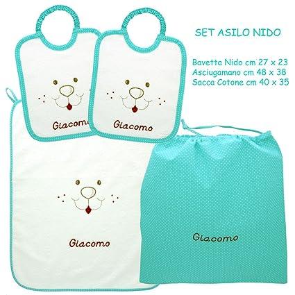 Asciugamani E Bavaglini Personalizzati.Coccole Set Asilo Nido Musetto Verde 4 Pezzi 2 Bavaglini 1