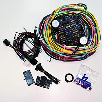 complete universal 12v 24 circuit 20 fuse wiring harness wire kit v8 rh amazon co uk