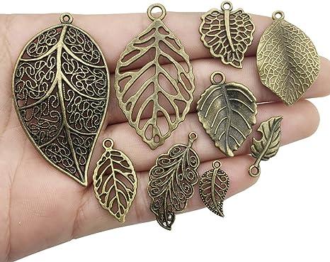 70pcs Tibetan Silver//Bronze Filigree Hollow Tree Leaf Charms Pendant 10x18mm