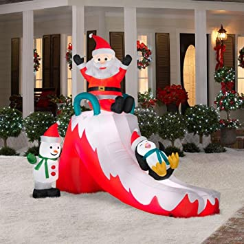 Christmas Decoration Lawn Yard Inflatable Santa With Penguin