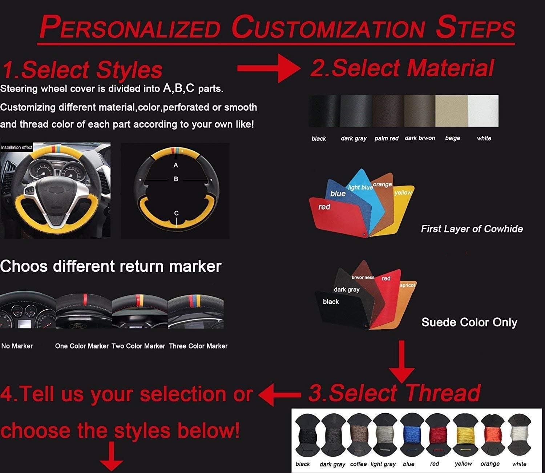 Loncky Car Custom Fit OEM Black Genuine Leather Steering Wheel Covers for Toyota FJ Cruiser 2007 2008 2009 2010 2011 2012 2013 2014 Interior Accessories
