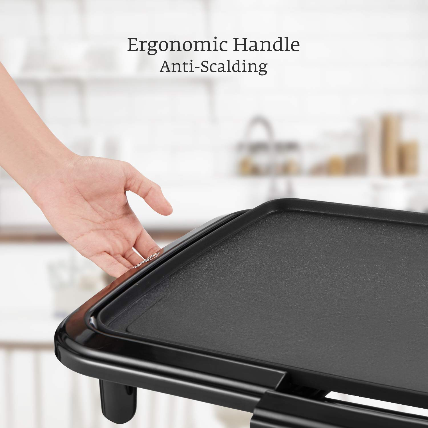 Kealive Griddle, Family-Sized Electric Grill Griddle 1500W with Drip Tray, Non-stick, 10''x20'', Black by Kealive (Image #4)
