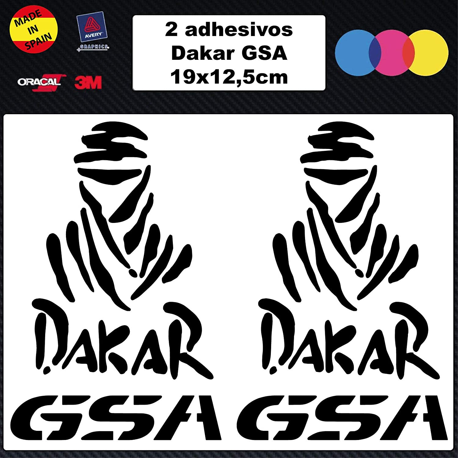 Custom Vinyl Pack Dos Pegatinas GS para Motocicletas Dakar 1000 1200 Stickers Accessories, Decal Pegatinas: Amazon.es: Coche y moto