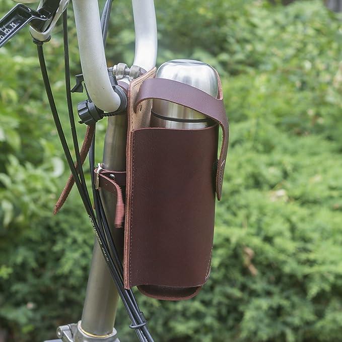 Matraz de piel/soporte para botella para Brompton - /bicicleta plegable DAHON/Tern: Amazon.es: Deportes y aire libre