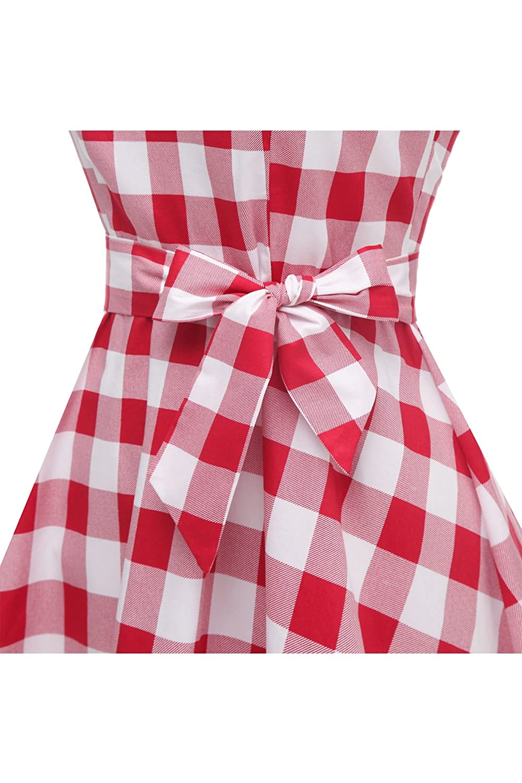 Topdress WomensVintage Polka Audrey Dress 1950s Halter Retro Cocktail Dress