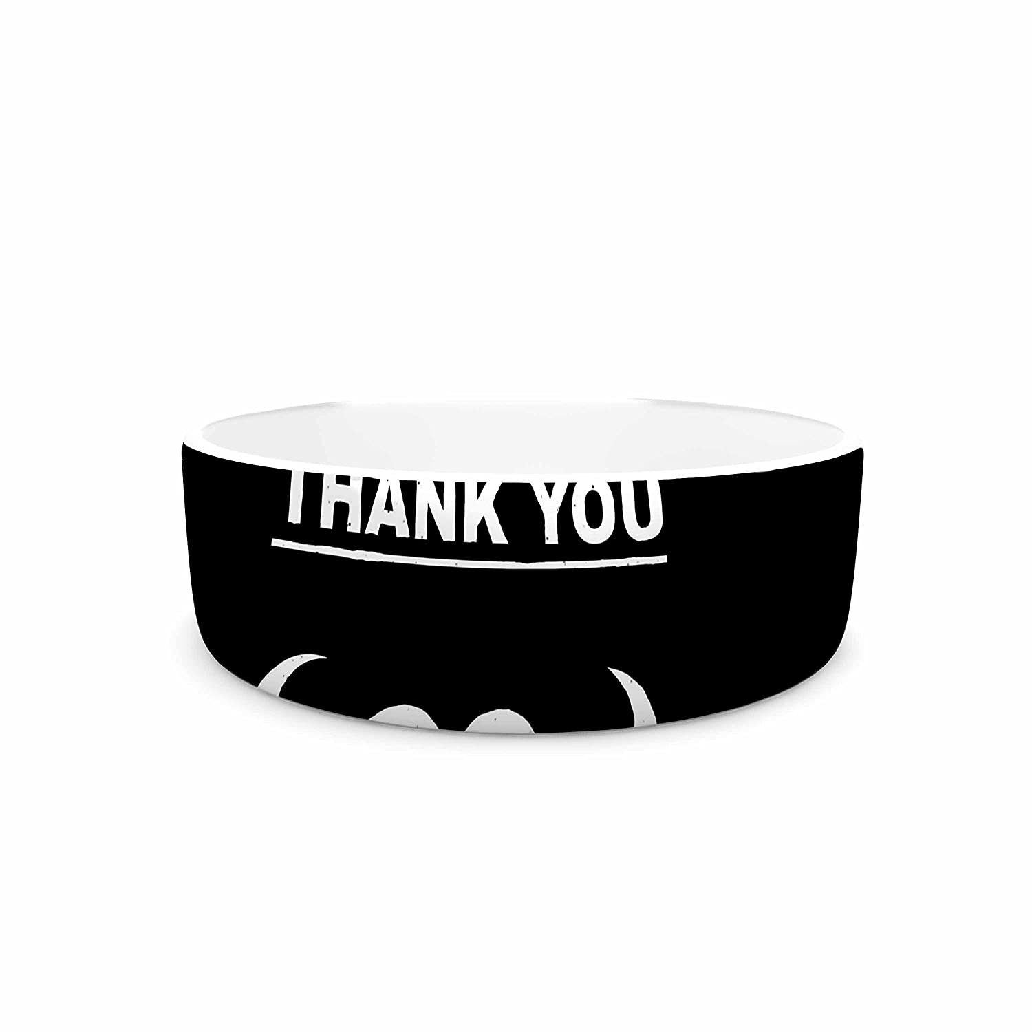 7\ KESS InHouse Barmalisirtb Thank You  Black White Pet Bowl, 7