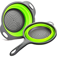 Longzon Collapsible Silicone Colanders and Strainers [2 Piece Set], Diameter Sizes 8'' - 2 Quart and 9.5″ - 3 Quart, Pasta Vegetable/Fruit Kitchen Mesh Strainers with Extendable Handles Green and Grey