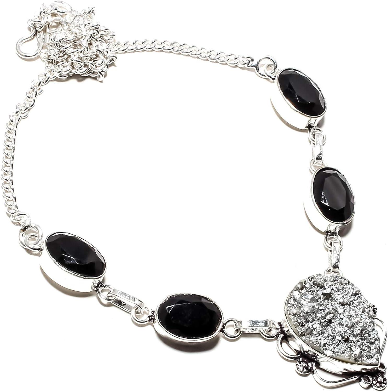 jewels paradise Collar de Plata de Ley 925 bañado en Plata de Ley 925 con Piedras Preciosas de ónix Negro y rubí (SF-1364)