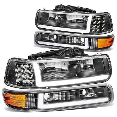 DNA MOTORING Black/Amber HL-LB-CSIL99-BK-AM Pair LED DRL Headlight Bumper Lamps,Black / Amber: Automotive