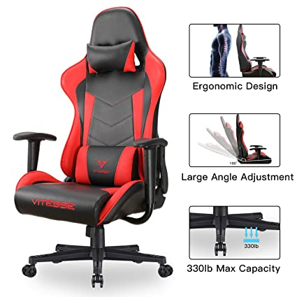 Vitesse Gaming Chair Racing Style High-Back PC Chair Ergonomic Office Desk Chair Swivel E-Sports Leather Computer Chair with Lumbar Support and ...