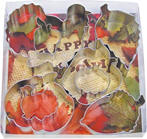 R&M International Thanksgiving Harvest Cookie Cutters, 2 Turkeys, 2 Pumpkins, 2 Apples, Acorn, Aspen Leaf, 8-Piece Set