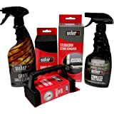 Weber Grill Cleaning Kit - Grill Spray Cleaner, Stainless Steel Polish, Grill Scraper, Stain Remover, and 10 Grill Scrubber Pads