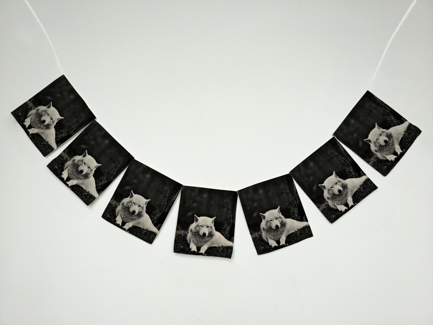 Wolves White Wolf Animals Banner Bunting Garland Flag Sign for Home Family Party Decoration
