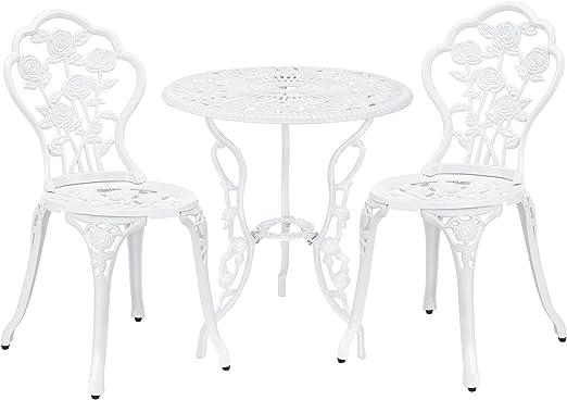 [casa.pro] Set bistro hierro fundido mesa + 2 sillas blanco look antiguo muebles para jardín, terraza, balcón: Amazon.es: Jardín