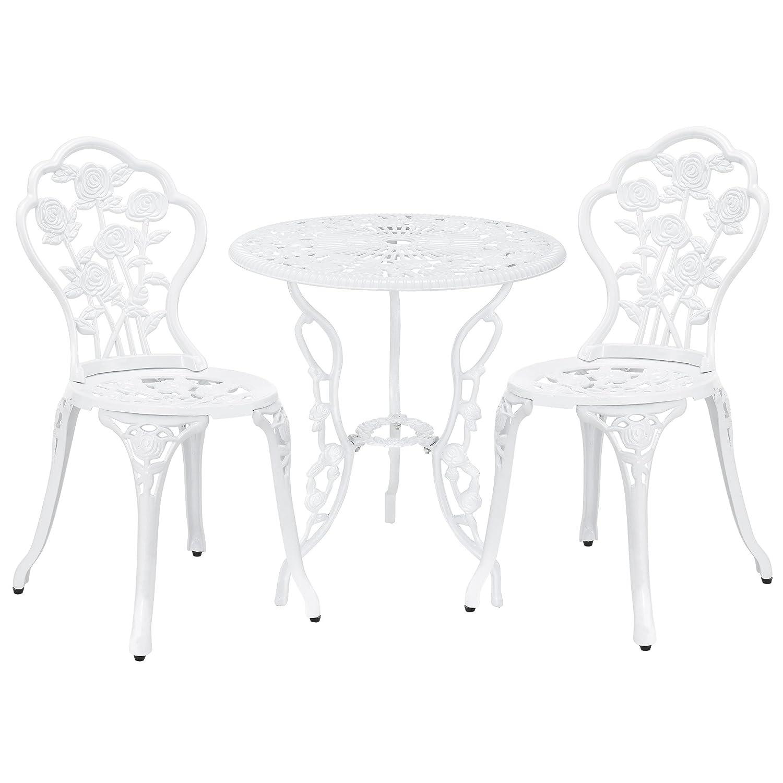 Casa Pro Gartentisch Bistro Tisch 60cm Rund Weiss Mit 2 Stuhlen