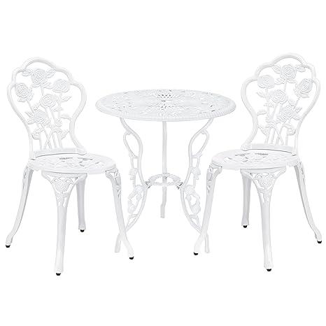 [casa.pro] Set bistro hierro fundido mesa + 2 sillas blanco look antiguo muebles para jardín, terraza, balcón