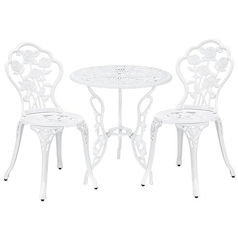Gartentisch rund weiß  casa.pro] Gartentisch / Bistro-Tisch 60cm, rund, weiß mit 2 ...