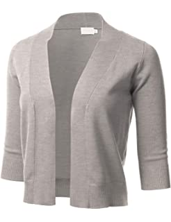 90b45f2956 AAMILIFE Womens 3 4 Sleeve Cropped Cardigans Sweaters Jackets Open Front  Short Shrugs for Dresses