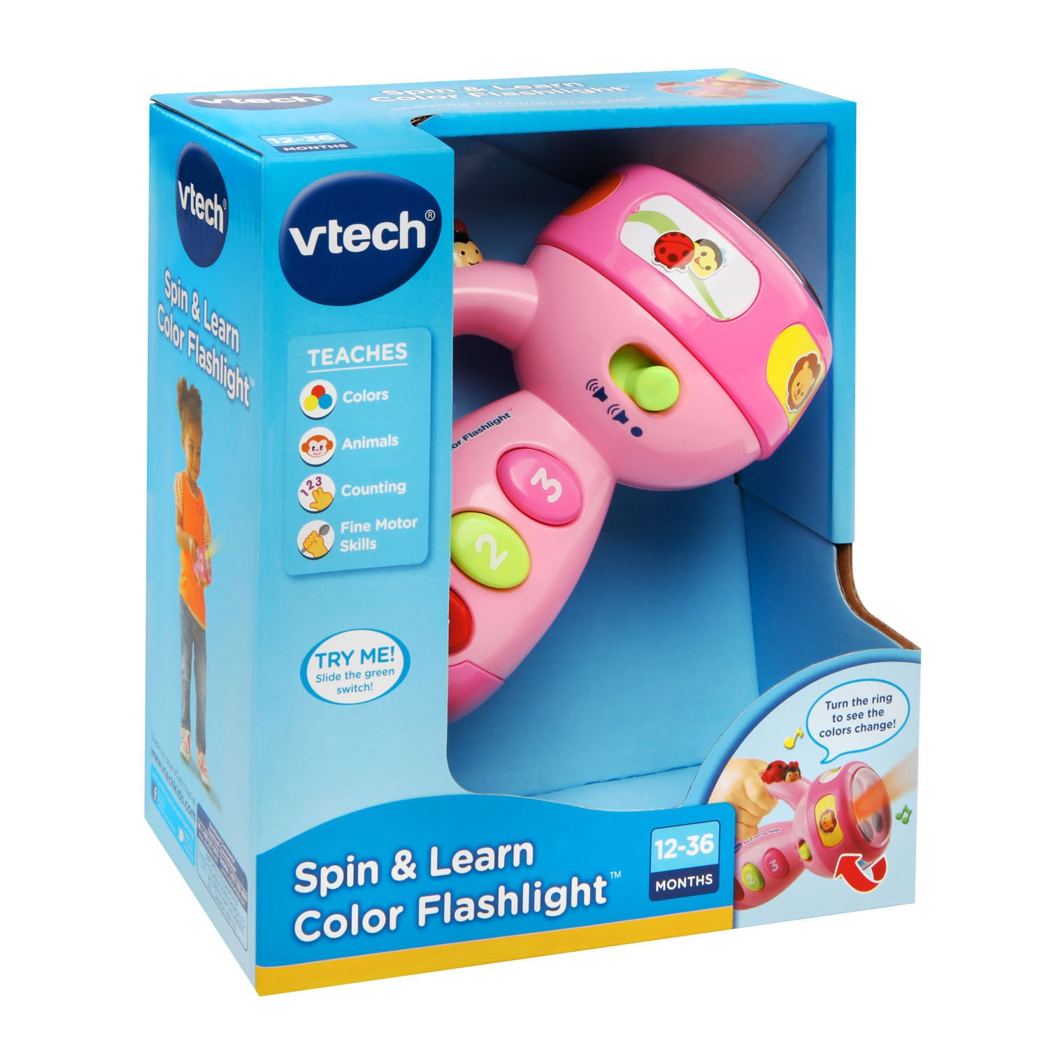 VTech Spin and Learn Color Flashlight Amazon Exclusive, Pink by VTech (Image #6)
