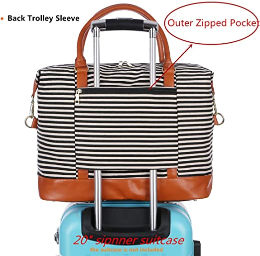 Genuine Leather Black BAOSHA HB-28 Ladies Women Canvas Travel Weekender Overnight Carry-on Shoulder Duffel Tote Bag