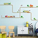 Decowall DW-1504 Trains and Tracks Kids Wall Stickers Wall Decals Peel and Stick Removable Wall Stickers for Kids Nursery Bedroom Living Room