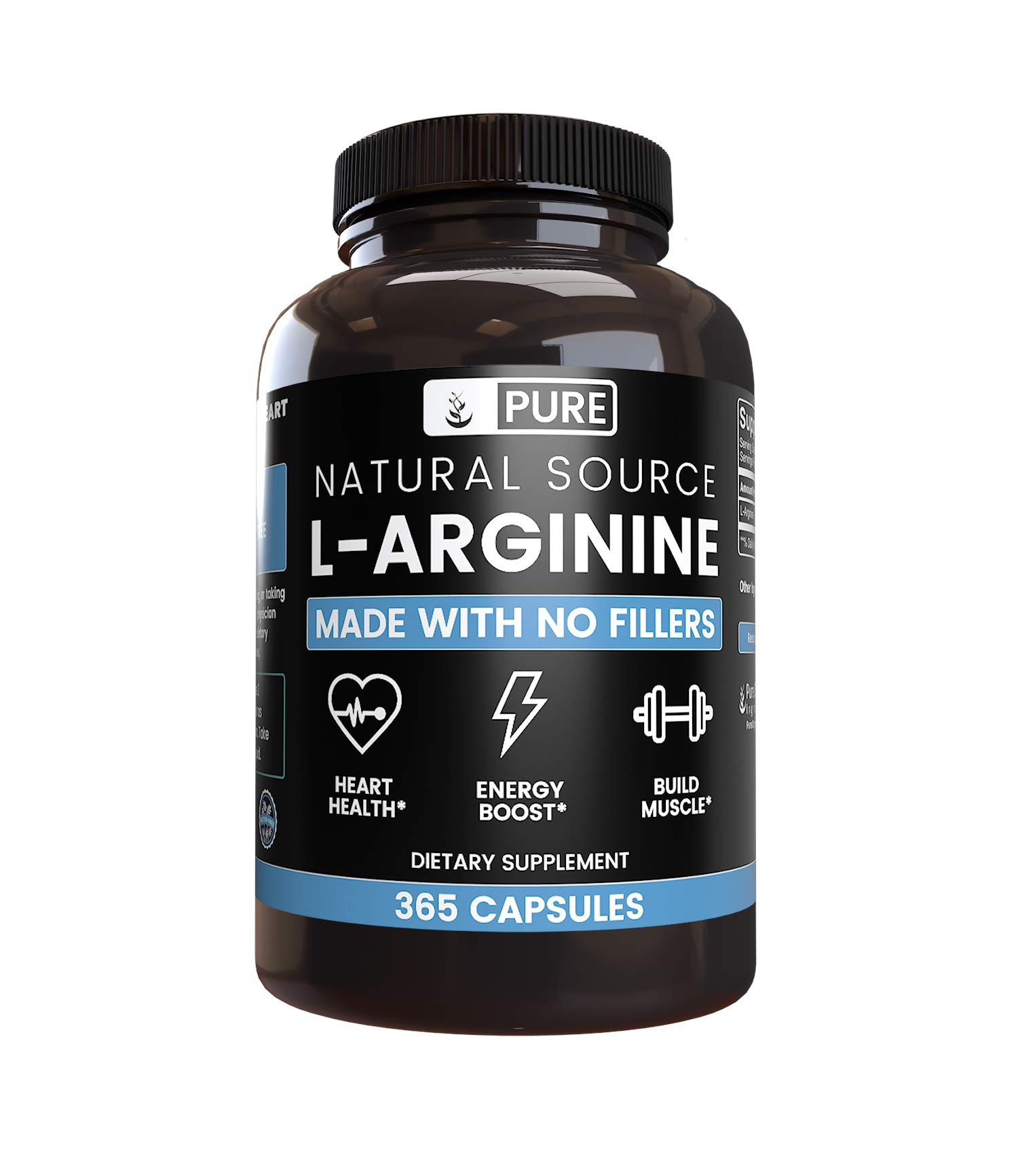 100% Pure L-Arginine | 90-Day Supply |365 Capsules |No Magnesium or Rice Filler, Nitrous Oxide Booster, Made in USA, Gluten-Free, Vegetarian, 800mg Extra Potent & All-Natural L-Arginine by Pure Organic Ingredients