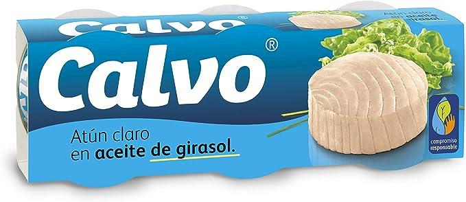 Calvo - Atun claro aceite girasol - pack 3 x 80g - [pack de 3 ...