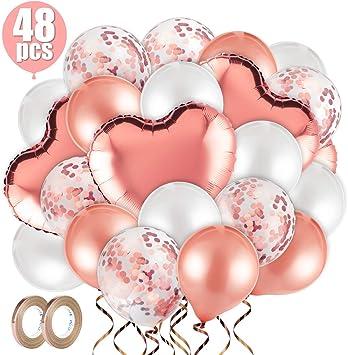MELLIEX Conjunto de Globos de Helio, 48 Piezas Globos Contiene Globo de Confeti, Globos de Latex, Globos de Aluminio con Cuerdas de Rollos para Cumpleaños Boda Baby Shower: Amazon.es: Juguetes y juegos
