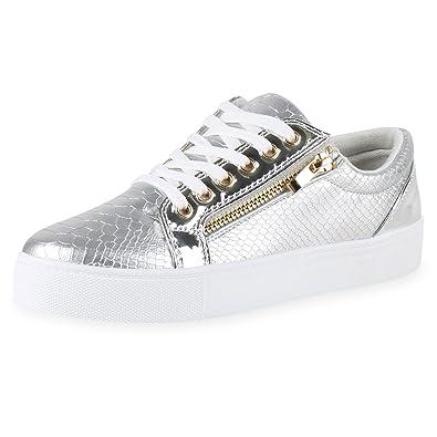 finest selection e3868 26d12 Damen Sneakers Low Lack Freizeit Schuhe Turnschuhe Kroko Jennika
